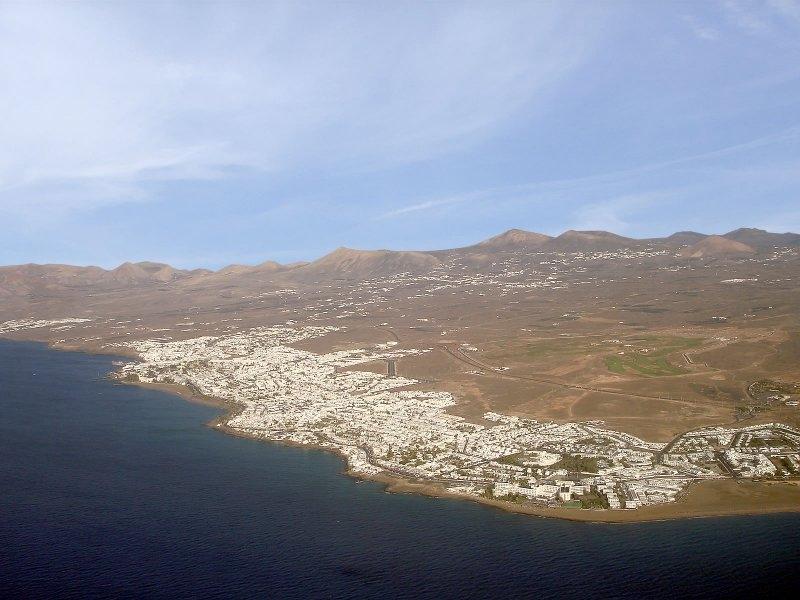 Puerto del Carmen aus der Luft beim Landeanflug