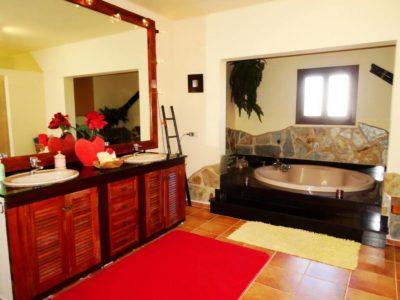 grosses Badezimmer mit runder Badewanne